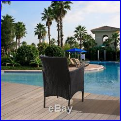 Black Rattan 3 Chairs and Table Garden Furniture Set Patio Conservatory Outdoor