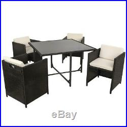 Black Rattan Effect 4 Seat Cube Dining Garden Furniture Patio Table & Chair Set