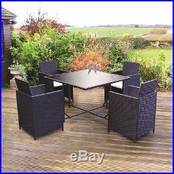 Black Rattan Effect 5 Piece Cube Dining Garden Furniture Patio Table Chair Set