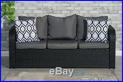 Black Rattan Garden Furniture 9 Seater Set Sofa Chairs Table With Rain Cover
