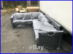 Black Rattan Garden Furniture Rattan Corner Sofa 6 Seater