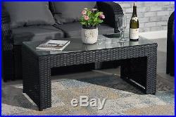 Black Rattan Garden Patio Furniture 7 Seater Set Sofa Set Chairs Table