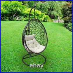 Black Rattan Hanging Egg Chair Indoor Outdoor Garden Patio Furniture Seat
