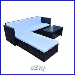 Black Rattan Patio Garden Furniture Set Lounge Corner Sofa & Table 5 Seater