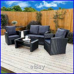 Black Rattan Weave Garden Furniture Sofa Armchair Chair Table Set FREE COVER