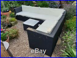 Black Rattan garden furniture 5-6 seater with square coffee table Ex-display