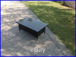 Black full rattan sofa set coffee table outdoor garden furniture