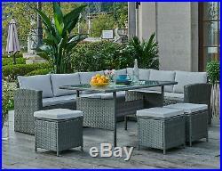 Black or Grey Corner Group Sofa Set with Stools PE Rattan Garden Patio Furniture