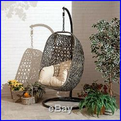 Brampton Cocoon Egg Chair Swing Wicker Rattan Garden Furniture Grey or Cream