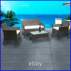 Brown 4 Pieces Patio Rattan Wicker Garden Furniture Set Table Sofa with Cushion