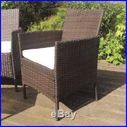 Brown 4pc Rattan Garden Furniture Set 2 Armchairs Chairs Sofa Coffee Table Patio