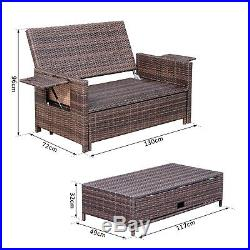 Brown Garden Rattan Home Furniture Set 2 Seater Patio Sun Lounger Daybed Sunbed