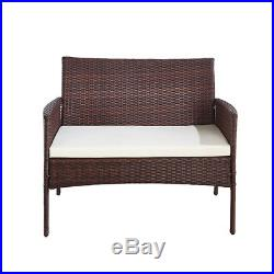 Brown Rattan 3 Chairs and Table Garden Furniture Set Patio Conservatory Outdoor