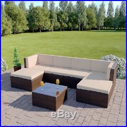 Brown Rattan Corner Modular Wicker Weave Garden Furniture Sofa FREE COVER