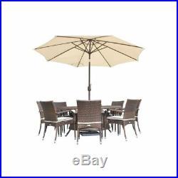 Brown Rattan Dining Set 8 Chairs & Round Table Outdoor Premium Garden Furniture
