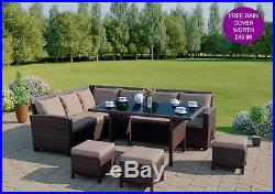Brown Rattan Garden Furniture 9 Seater Sofa Set& Dining Table Bench + Free Cover