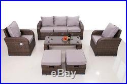 Brown Rattan Garden Furniture Patio Sofa Chair Set Conservatory