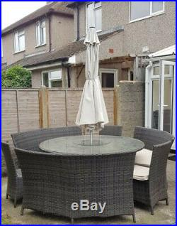 Brown Ratten Garden Furniture, Table Chairs set with Benches, Includes Umbrella