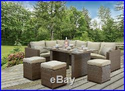 CasaGiardino Brown Rattan Corner Sofa Outdoor Garden Furniture Dining Table Set
