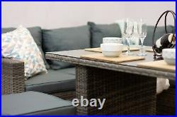 Casa' Rattan Grey Brown Corner Sofa Outdoor Garden Furniture Dining Table Set