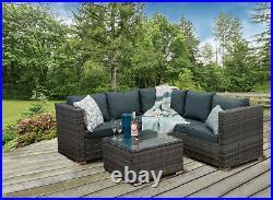Casa Rattan' Grey Rattan Corner Sofa Outdoor Garden Furniture Coffee Table Set