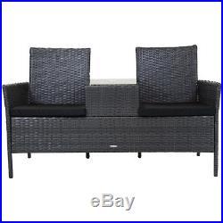 Charles Bentley Grey Rattan Companion Love Seat Bench Outdoor Garden Furniture