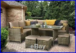 Charlotte Brown Rattan Corner Sofa Outdoor Garden Furniture Dining Table Set