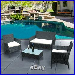 Conservatory 4 Piece Rattan Garden Furniture Outdoor Table Chairs Set in Black