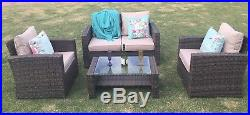 Conservatory 4 Piece Rattan Sofa Garden Furniture Patio Set Table Chairs Brown
