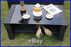 Conservatory 4-Piece Rattan Sofa Set Garden Furniture outdoor Sofa Table Chairs