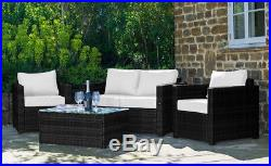 Conservatory 4 Piece Set Rattan Sofa Garden Furniture Patio Set Table Chair