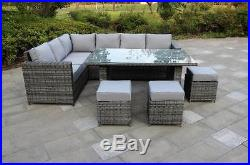 Conservatory Barcelona Range Rattan Garden Furniture Set 9 Seater Dining
