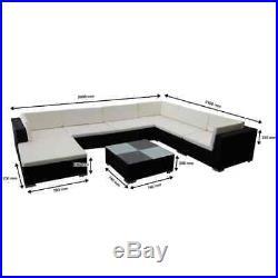 Conservatory MODULAR 14 Seater Rattan Corner Sofa Set Garden Furniture Black New