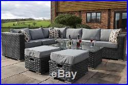 Conservatory MODULAR 8 Seater Rattan Corner Sofa Garden Furniture grey