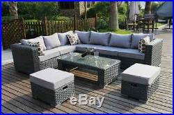 Conservatory MODULAR 8 Seater Rattan Corner Sofa Set Garden Furniture grey