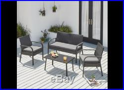 Conservatory Patio Outdoor Table Chairs Sofa Rattan Garden Furniture Set 4 Piece