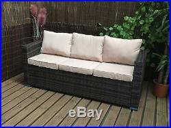 Conservatory Rattan Sofa Garden Furniture Patio Set 3 seater sofa Brown