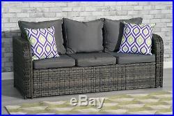 Conservatory Rattan Sofa Garden Furniture Patio Set 3 seater sofa Grey