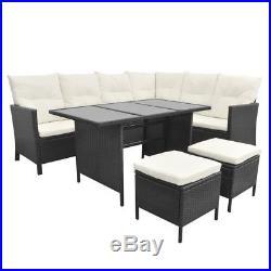 Corner Garden Sofa Set 16 Piece Poly Rattan Outdoor Furniture Dining Table Black