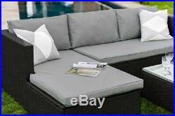 Corner Modular Rattan Garden Furniture Set Ottoman Sofa Black Grey FREE COVER