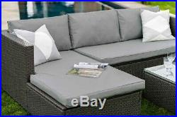 Corner Modular Rattan Garden Furniture Set Ottoman Sofa, Dark Grey FREE COVER