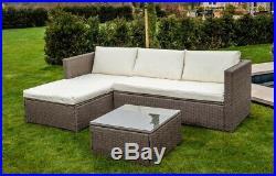 Corner Modular Rattan Garden Furniture Set Ottoman Sofa Outdoor Brown FREE COVER