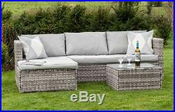 Corner Modular Rattan Garden Furniture Set Ottoman Sofa Outdoor, Light Grey