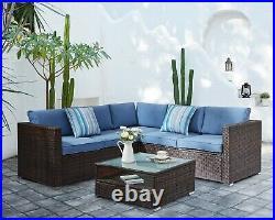 Corner Rattan Garden Furniture Dining Set Outdoor Patio Table L-Shaped Sofa Set