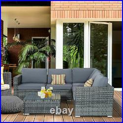 Corner Rattan Sofa Set Outdoor Garden Furniture Patio L-Shaped Grey W Cushions