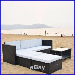 Corner Sofa & Coffee Table & Ottoman Outdoor Garden Patio Rattan Furniture Set
