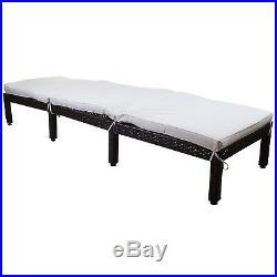 Cream Rattan Sun Lounger Outdoor Garden Patio Furniture Recliner Relaxer Day Bed