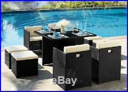 Cube Rattan Garden Furniture 9 Piece Dining Set Stools Black Brown Outdoor Patio