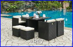 Cube Rattan Garden Furniture 9 Piece Set Colour Choice with Free Cover Included