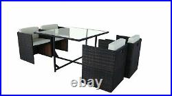 Cube Rattan Garden Furniture Outdoor 5 Piece Set Conservatory Patio Dining Set